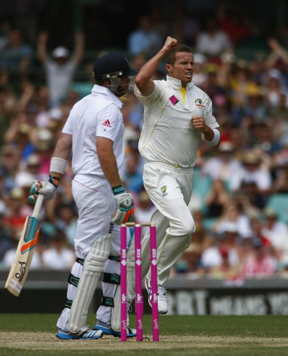 Australia's Siddle celebrates after taking the wicket of England's Bell during the second day of the fifth Ashes cricket test at the Sydney cricket ground