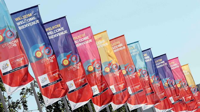 "Flags announcing ""The Grand Depart"" of the Tour de France cycling race are seen in Utrecht"