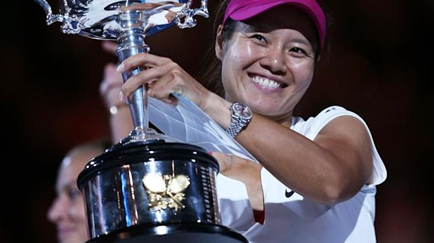 Na Li of China holds the Daphne Akhurst Memorial Cup after winning the women's final match against Dominika Cibulkova (Getty Images)