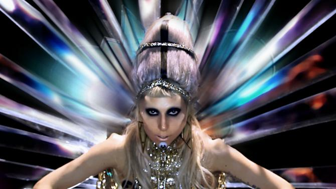 "In this music video image released by Interscope Records, a sceen from Lady Gaga's ""Born This Way"" video is shown. The video is nominated in the new category Best Video with a Message at the 2011 MTV Video Music Awards on Sunday Aug. 28, 2011. (AP Photo/Interscope Records)"