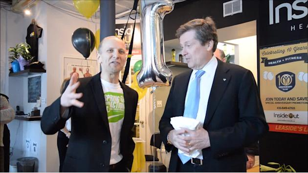 Toronto mayor John Tory speaking about health and fitness
