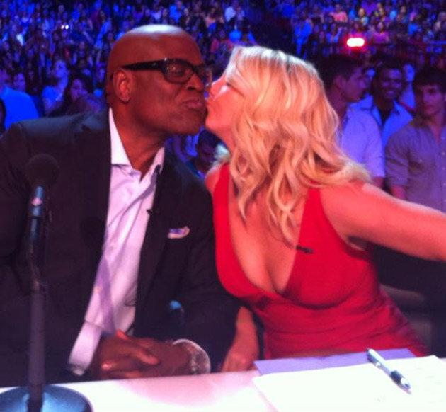 Celebrity photos: Britney Spears got flirty in the X Factor auditions this week, planting a smooch on co judge LA Reid's face. We can't wait for the new series to start. Copyright [Britney Spears]