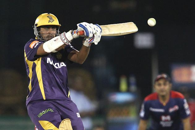 Sumit Narwal of Kolkata Knight Riders attempts to hook a short delivery  during match 44 of the Pepsi Indian Premier League between The Delhi Daredevils and the Kolkata Knight Riders held at the Chhat