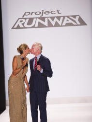 Heidi Klum, left, and Tim Gunn walk the runway at the Project Runway finale fashion show during Fashion Week on Friday, Sept. 7, 2012 in New York. (Photo by Charles Sykes/Invision/AP Images)