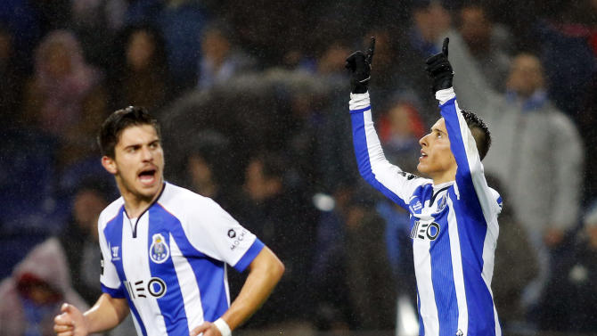 Porto's Tello celebrates his goal against Sporting with Neves during their Portuguese Premier League soccer match at Dragao stadium