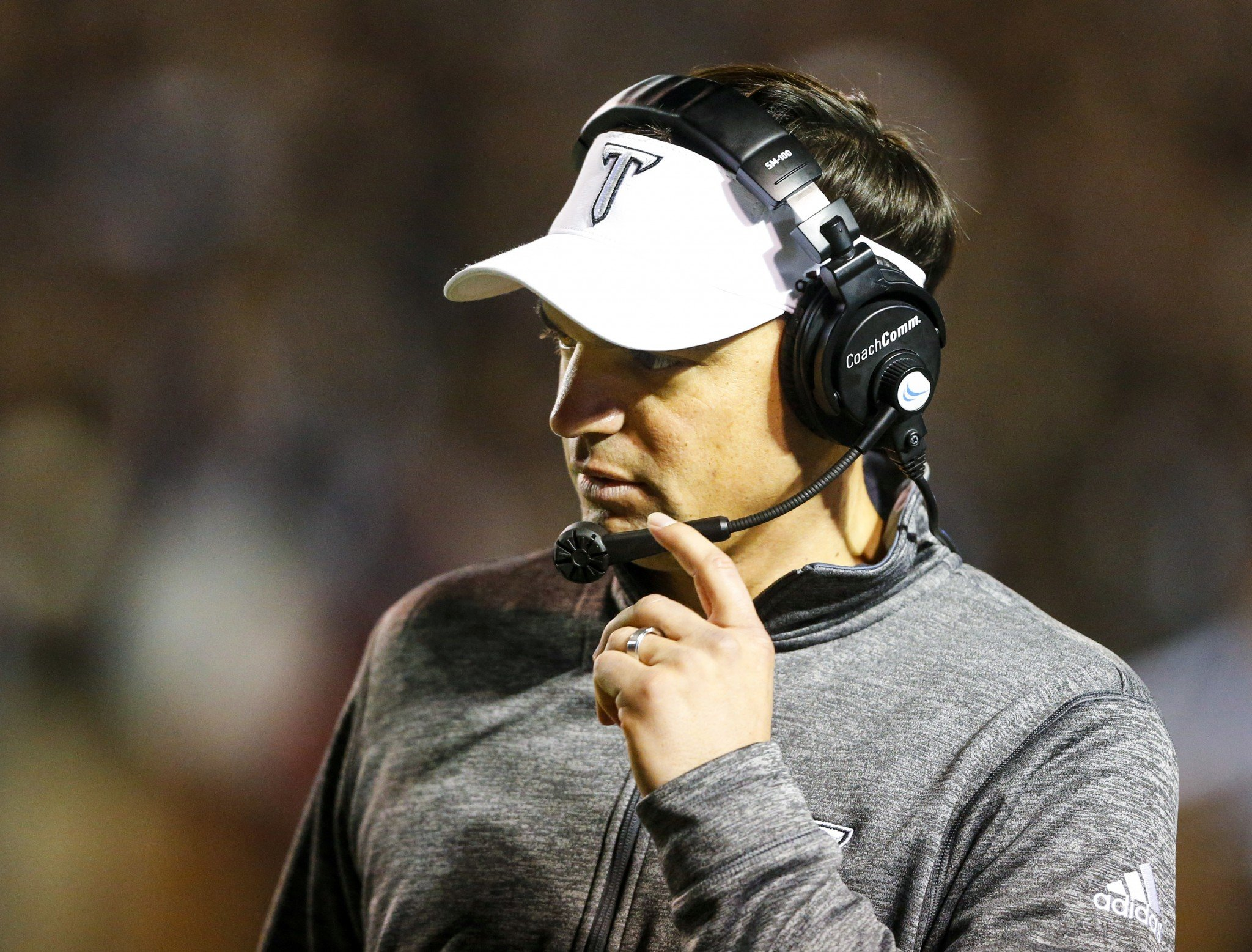 Troy coach Neal Brown's team had a chance to clinch the Sun Belt, but lost to Georgia Southern. (AP Photo/Butch Dill)