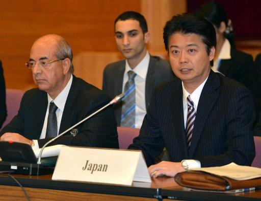 Japanese Foreign Minister Koichiro Gemba (R) delivers an opening speech while co-chair, Moroccan Embassador to Japan Samir Arrour, listens during the opening session of the 5th meeting of the 'Friends of Syria' group, in Tokyo, on November 30. Delegates from 67 countries held a meeting, seeking to ramp up pressure on Bashar al-Assad's regime