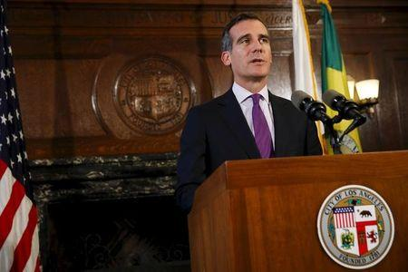Los Angeles Mayor Garcetti speaks during a news conference after meeting with the family of Ezell Ford in Los Angeles