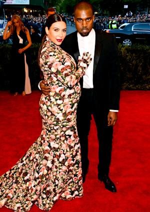 Kim Kardashian Shows Off Baby Bump, Wears Flower Print Dress With Kanye West at Met Gala 2013