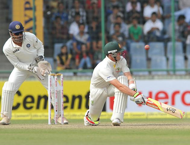 Peter Siddle of Australia swipes the ball against India during the 4th test match of Border Gavaskar Trophy, at Ferozeshah Kotla Stadium, in Delhi on March 22, 2013. P D Photo by Asish Maitra