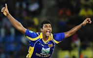 Sri Lankan cricketer Thisara Perera celebrates after his dismissal of Pakistan cricket captain Misbah-ul-Haq during the second one-day international (ODI) match between Sri Lanka and Pakistan in Pallekele. Sri Lanka defeated Pakistan by 76 runs in the second one-day international to level the five-match series 1-1