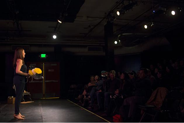 """Eliana Lopez is shown in a photo call from a scene from her one-woman play """"Cual es el Escandalo?"""" in San Francisco"""