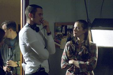 Director Bryan Bertino and Liv Tyler on the set of Rogue Pictures' The Strangers