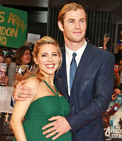PIC: Chris Hemsworth Rubs Elsa Pataky's Baby Bump at Avengers Premiere