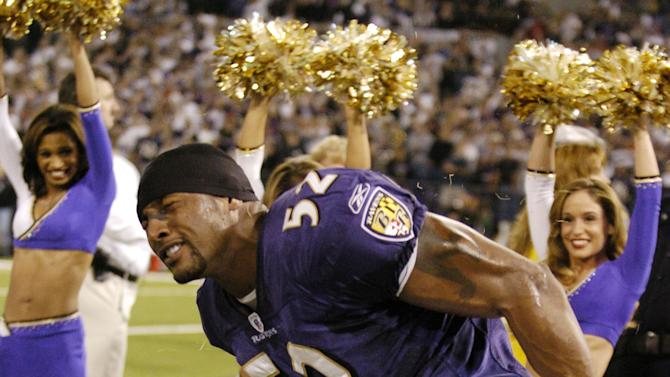 Baltimore Ravens linebacker Ray Lewis dances during pre-game introductions October 4, 2004 on Monday Night Football at Baltimore, Maryland. The 0 - 3 Chiefs defeated the Ravens 27 - 24. (Photo by Al Messerschmidt/Getty Images)