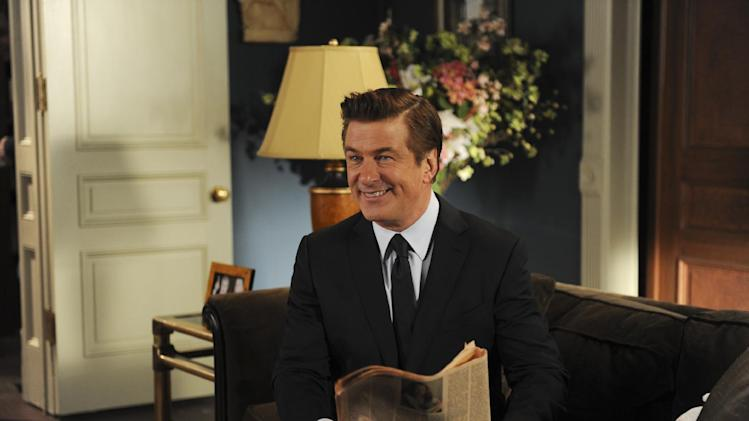 "This image released by NBC shows Alec Baldwin as Jack Donaghy in a scene from the series finale of ""30 Rock,"" airing Thursday, Jan. 31, 2013 on NBC. (AP Photo/NBC,  Ali Goldstein)"