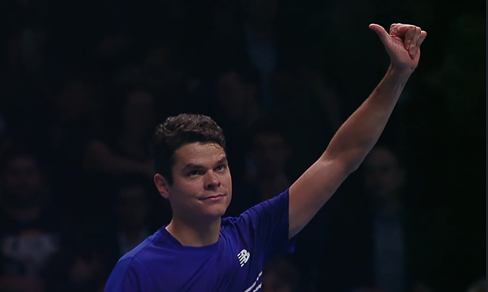 Raonic gives a thumbs up to the crowd after defeating Dominic Thiem 7-6, 6-3 in their round-robin match at the ATP Tour Finals Thursday in London. (From TennisTV.com)