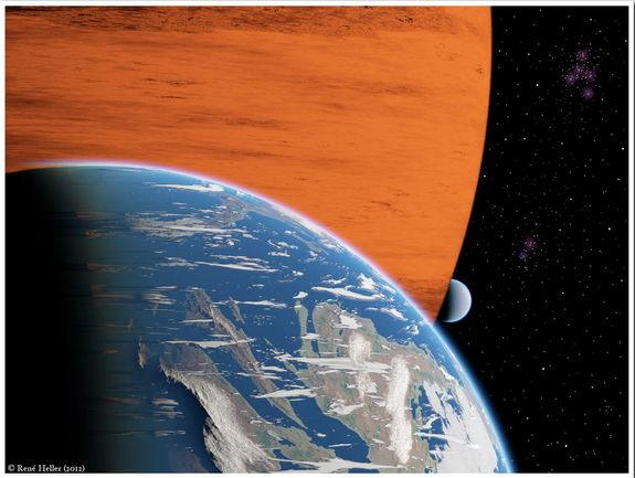 Artist's conception of two extrasolar moons orbiting a giant gaseous planet.