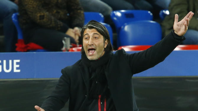 FC Basel's coach Yakin reacts during Champions League soccer match against Steaua Bucharest in Basel