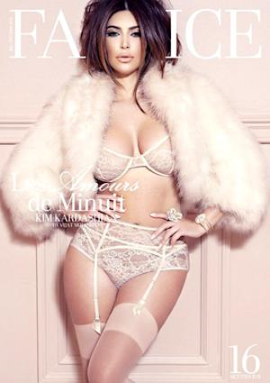 Kim Kardashian Wears Lingerie, Fur Coat in Sexy French Photo Shoot