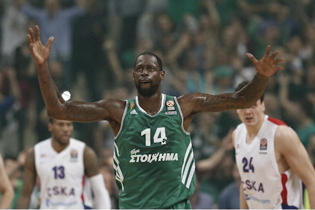 Panathinaikos' James Gist celebrates after he scored during a Euroleague playoff game 4 basketball match against CSKA Moscow  at the Indoor Olympic Arena in Athens, Wednesday, April 23, 2014. Pana