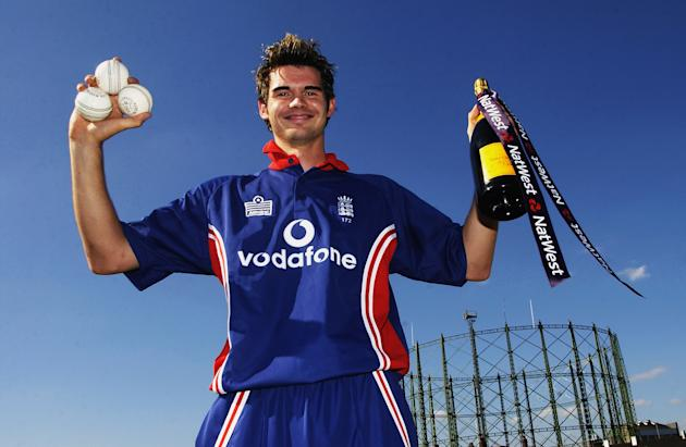 James Anderson of England celebrates after taking a hat-trick