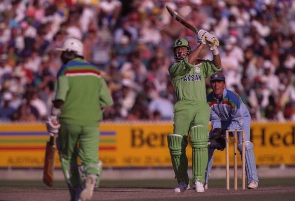 1992:  Imran Khan captain of Pakistan , in batting action during the final of the Cricket World Cup between Pakistan and England at the MCG in Melbourne.  The wicketkeeper is Alec Stewart and the non-