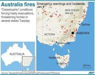 Graphic locating bushfire warnings in the Australian states of New South Wales, Victoria and Tasmania.