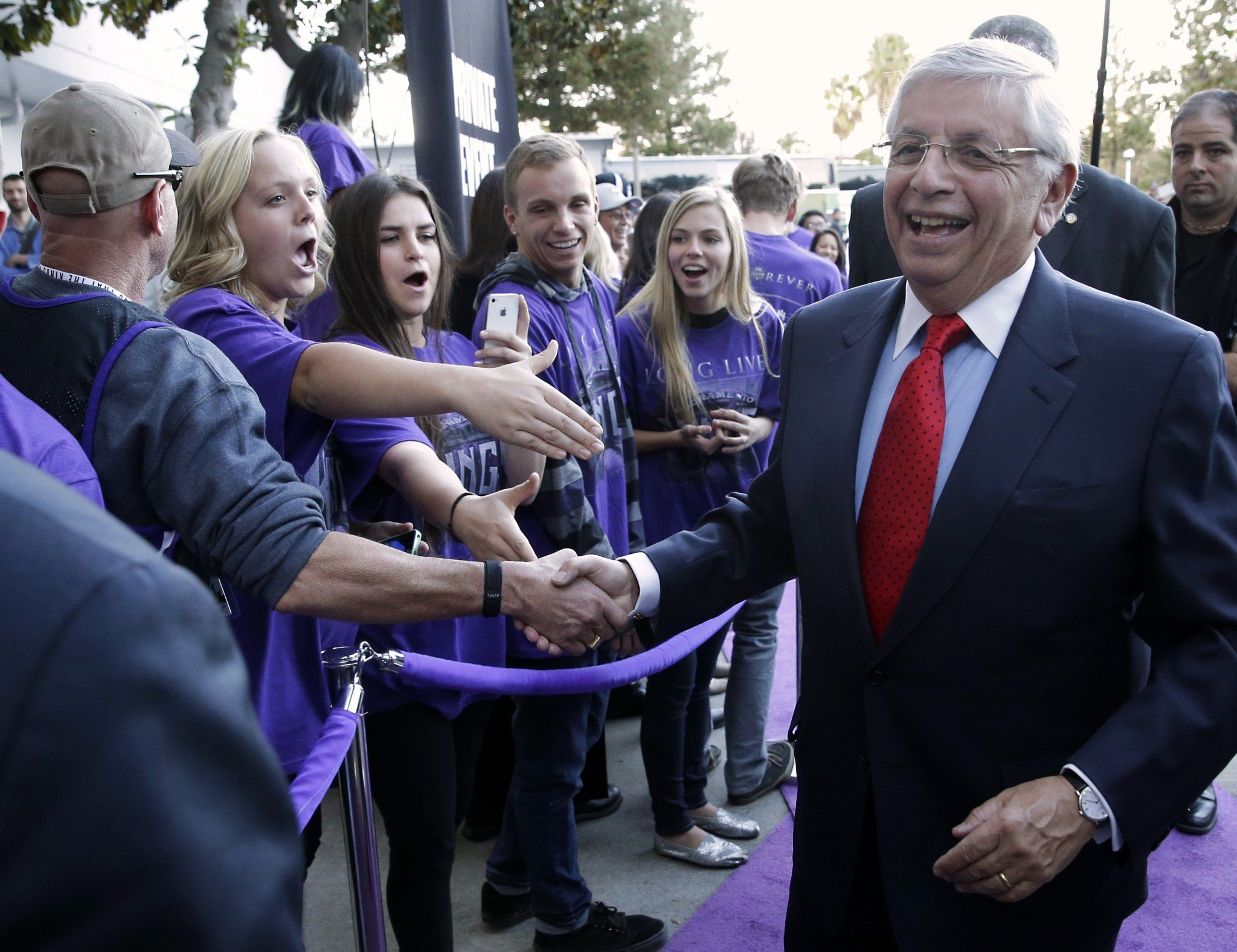 Then-NBA Commissioner David Stern greets Sacramento Kings fans as he arrives at Sleep Train Arena to attend a Kings game on Oct. 30, 2013. (AP/Rich Pedroncelli)