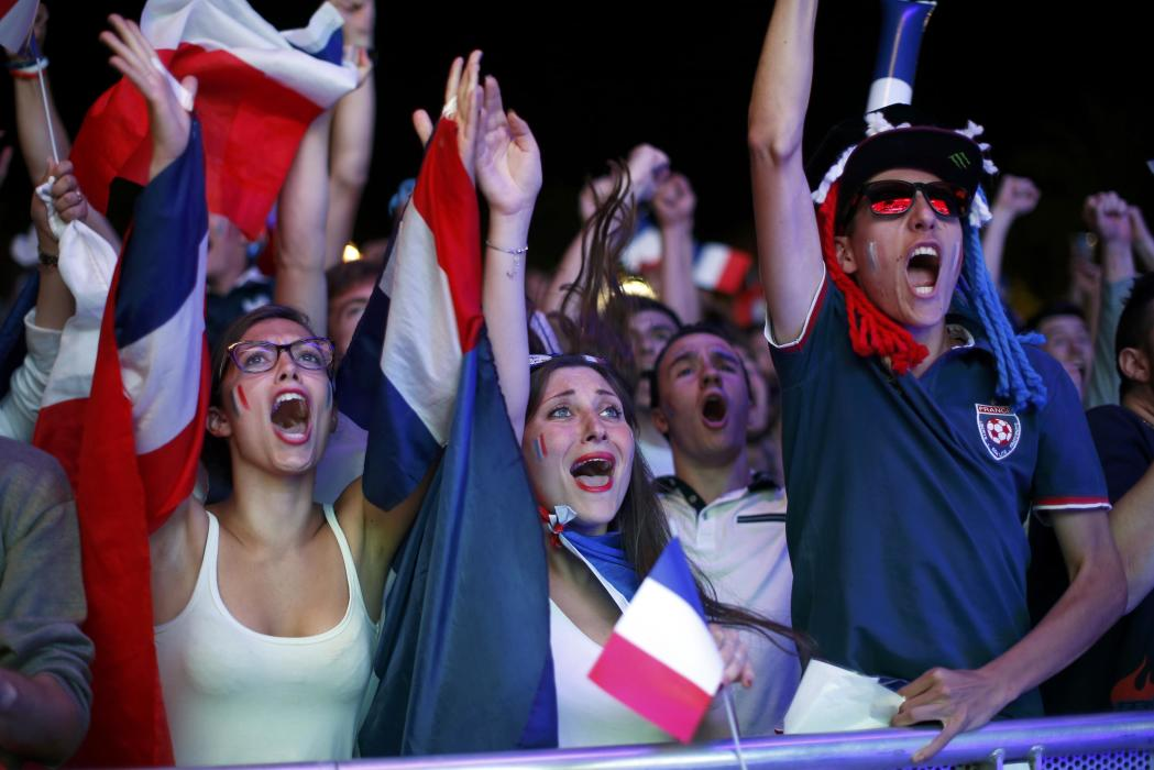 France fans react after goal as they watch EURO 2016 match in Nice