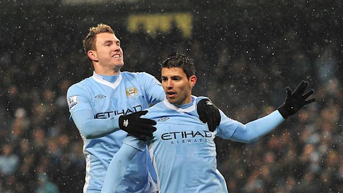 Edin Dzeko (left) and Sergio Aguero