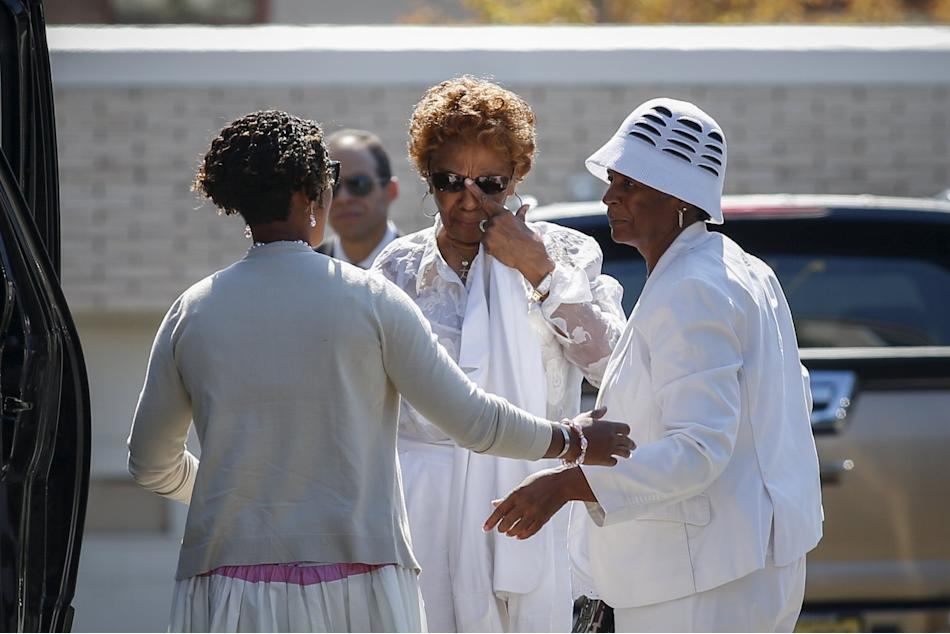Cissy Houston attends a funeral service for her granddaughter Bobbi Kristina Brown at the Whigham Funeral Home in Newark