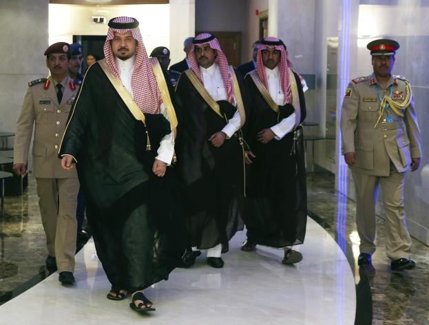 Saudi Arabia Deputy Minister of Defense Prince Salman bin Sultan (front L), arrives for a meeting with U.S. Secretary of Defense Chuck Hagel at the Radisson Hotel in Manama December 6, 2013 . REUTERS/Mark Wilson/Pool (BAHRAIN - Tags: POLITICS MILITARY)