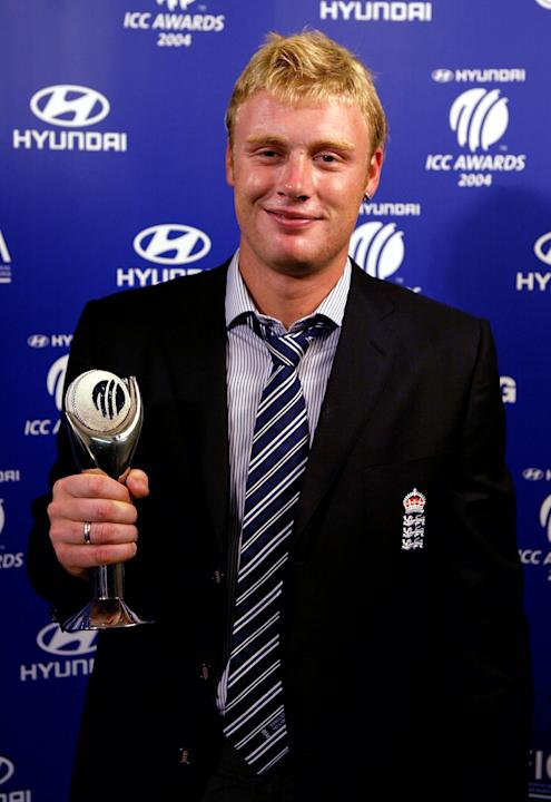 LONDON - SEPTEMBER 7:  Andrew Flintoff of England celebrates winning the award of ODI player of the year during the ICC Awards 2004 on September 7, 2004 at Alexandra Palace in London, England.  (Photo