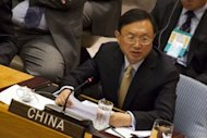 Yang Jiechi, Foreign Affairs Minister of China, seen here speaking at a United Nations Security Council meeting on September 26, in New York City. China took a bitter territorial dispute with Japan to the UN General Assembly on Thursday, with Yang accusing Tokyo of stealing disputed islands