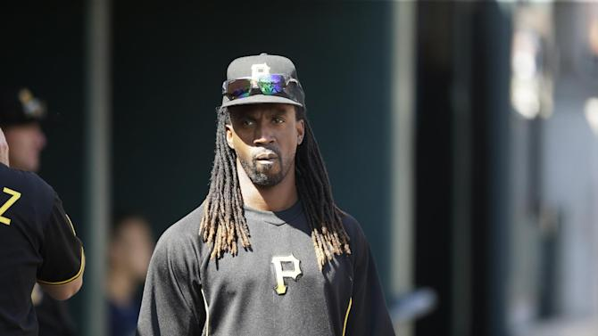 Pittsburgh Pirates outfielder Andrew McCutchen is seen in the dugout during the eighth inning of an interleague baseball game against the Detroit Tigers, Thursday, Aug. 14, 2014 in Detroit