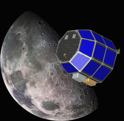 An artist's illustration of NASA's Lunar Atmosphere and Dust Environment Explorer mission (LADEE).