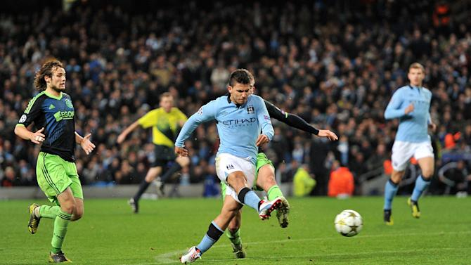 Sergio Aguero, centre, scored Manchester City's equaliser deep in the second half