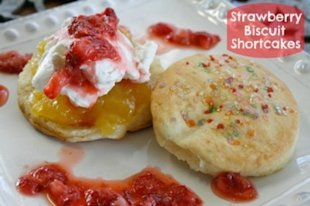 Strawberry Biscuit Shortcake Smeared with Lemon Curd