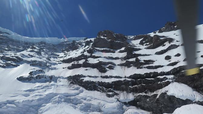 the Liberty Ridge Area of Mount Rainier as viewed from the Carbon Glacier, Saturday
