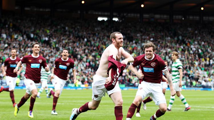 Craig Beattie celebrates scoring the winner in the Scottish Cup semi-final against Celtic