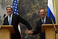 US Secretary of State John Kerry (L) and his Russian counterpart Sergei Lavrov attend their joint press conference in Moscow on May 7, 2013. After months of sharp differences, Russia and the United States have agreed to push both sides in Syria to find an end to the bloodshed, offering to hold an international conference in search of peace