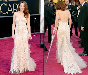 Kristen Stewart Walks the Oscars Red Carpet on Crutches: Picture