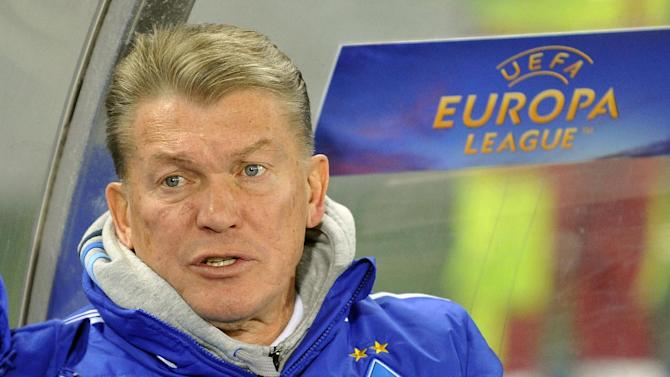 Kiev's head coach Oleh Blokhin reacts during their Europa League second round group G soccer match between SK Rapid Wien and FC Dynamo Kiev, in Vienna, Austria, Thursday, Oct. 3, 2013