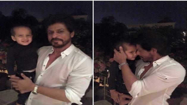 ShahRukh Khan poses with Yusuf Pathan's cute son