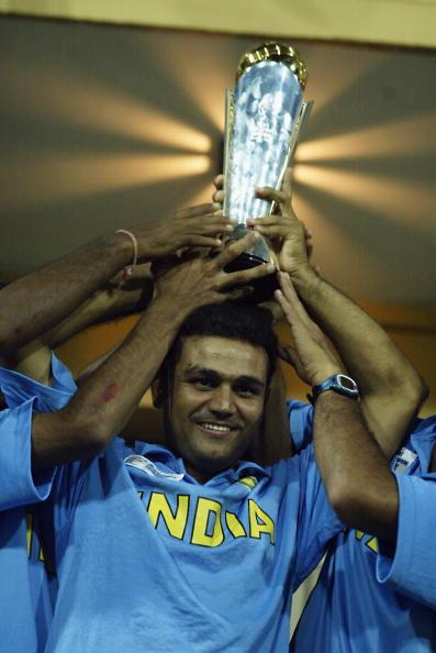 Virender Sehwag of India with the trophy after