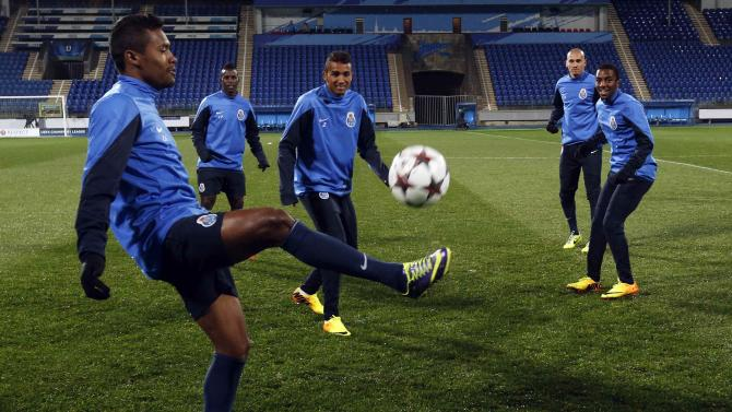 Porto's players attend a training session at Petrovsky stadium in St. Petersburg