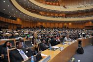 Officials attend the opening session of the African Union summit on July 15 in Addis Ababa. The African Union said Sunday it is ready to send peacekeeping troops to the restive eastern DR Congo, as leaders met at a biannual summit to discuss trouble spots and to vote for the bloc's top job