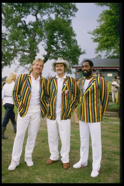 1985:  (left-right) Ian Botham of England with eccentric millionaire Tim Hudson and Viv Richards of the West Indies.    Mandatory Credit: Mike Powell/Allsport UK