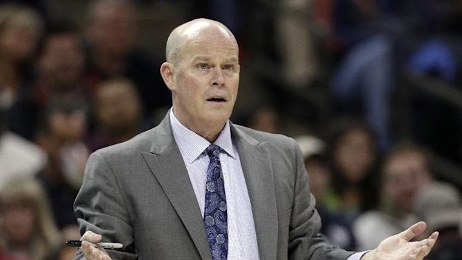 Charlotte Bobcats head coach Steve Clifford reacts to a call during the second half of an NBA basketball game against the Indiana Pacers in Charlotte, N.C., Wednesday, Nov. 27, 2013. The Pacers won 99-74